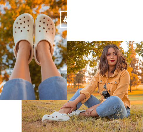 Woman posing in a park and wearing Classic Clogs in Khaki. #rockthecrocs.